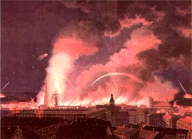 The morning of September 5, an English incendiary set the spire on Vor Frue Church (The church of Our Lady), on fire