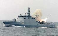 Harpoon launched from Danish Patrol Vessel...