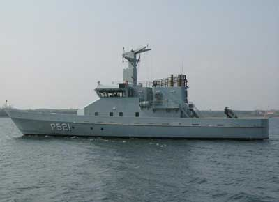 The patrol vessel FREJA seen here leaving the ship yard in Faaborg
