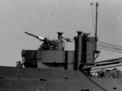 The 40 mm in twin mount on board the minelayer BESKYTTEREN