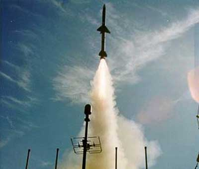 A Sea Sparrow missile is here shown immidiately after vertical launch